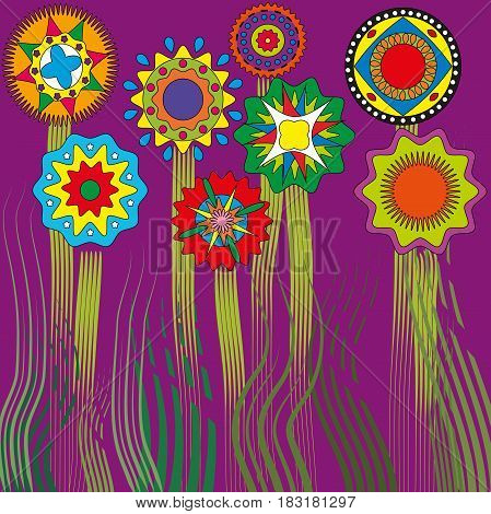 drawing template flowers and grass circles ethnic purple background