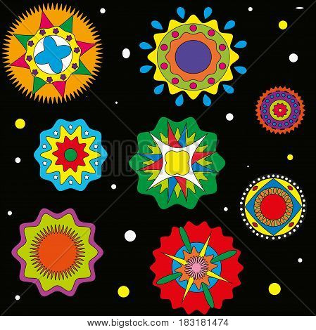 Pattern on a black background circles color