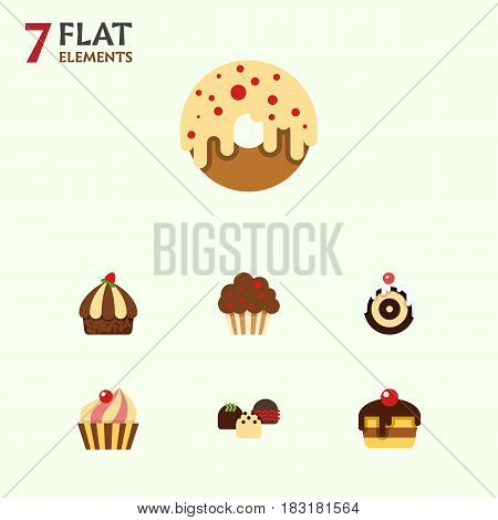 Flat Cake Set Of Dessert, Muffin, Pastry And Other Vector Objects. Also Includes Cupcake, Doughnut, Pastry Elements.