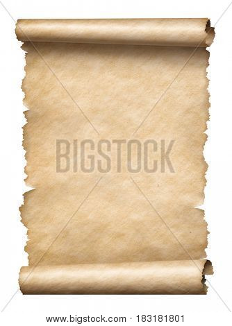 Old paper manuscript scroll isolated vertically oriented 3d illustration