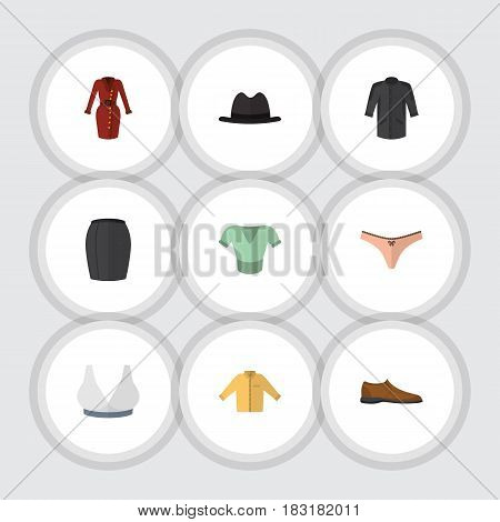 Flat Clothes Set Of Male Footware, Brasserie, Panama And Other Vector Objects. Also Includes Kimono, Footware, Underwear Elements.