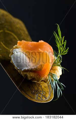 Canapes With Smoked Salmon , Cream Cheese And Dill