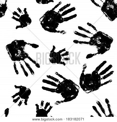 Black handprints on white background pattern. Horror seamless background. Social illustration.