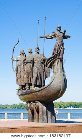 Memorial to the Legendary Founders of Kyiv. The memorial depicts the three brothers Kyi Shchek Khoryv and their sister Lybid