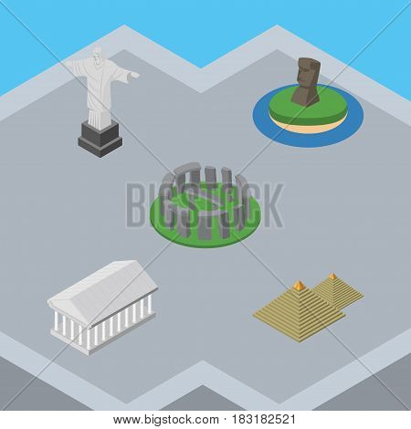 Isometric Attraction Set Of Egypt, Chile, Rio And Other Vector Objects. Also Includes Monument, MoAI, Pyramids Elements.