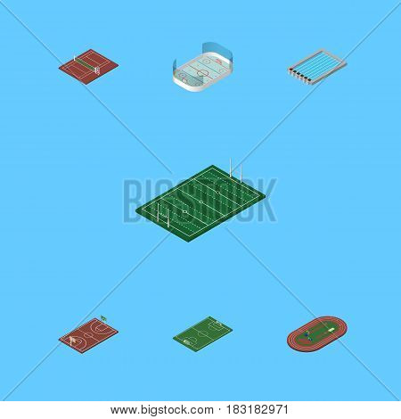 Isometric Lifestyle Set Of Ice Games, Run Stadium, Basin And Other Vector Objects. Also Includes Stadium, Hockey, Swimming Elements.
