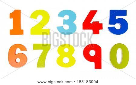 Colorful wooden toy numbers on white background