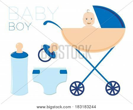 The child in the stroller. The boy is a newborn. He has a nipple, a bottle and a diaper. A set of isolated illustrations.