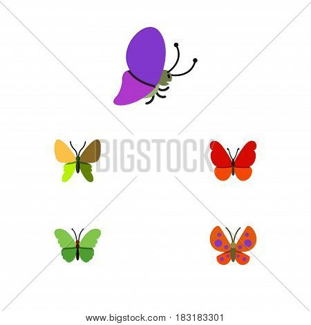 Flat Monarch Set Of Moth, Monarch, Beauty Fly And Other Vector Objects. Also Includes Monarch, Moth, Butterfly Elements.