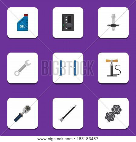 Flat Auto Set Of Ratchet, Wheel Pump, Spanner And Other Vector Objects. Also Includes Lifting, Puller, Pulley Elements.