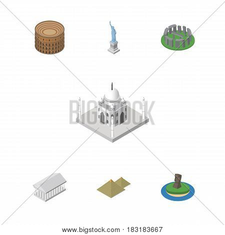 Isometric Travel Set Of Coliseum, Chile, Egypt And Other Vector Objects. Also Includes Egypt, MoAI, Stonehenge Elements.