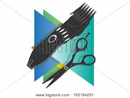 Scissors hairdresser's icon on a background of multicolored triangles
