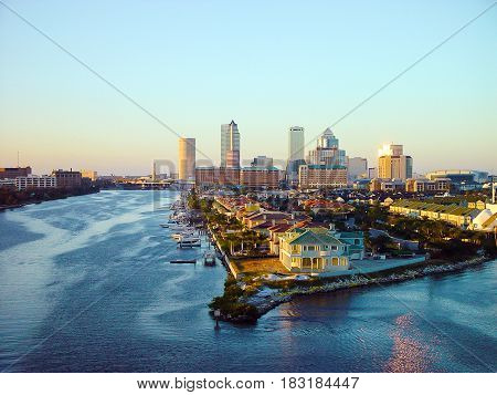 TAMPA, FLORIDA, US - November, 29, 2003: Tampa city skyline panoramic view on modern skyscrapers in business downtown Florida USA