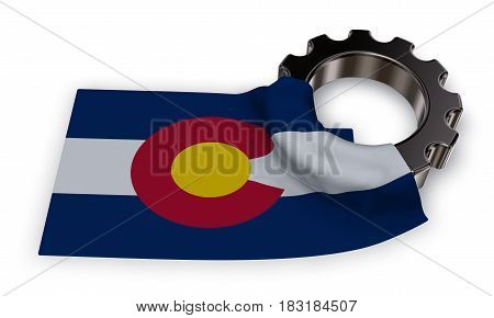 gear wheel and flag of colorado - 3d rendering