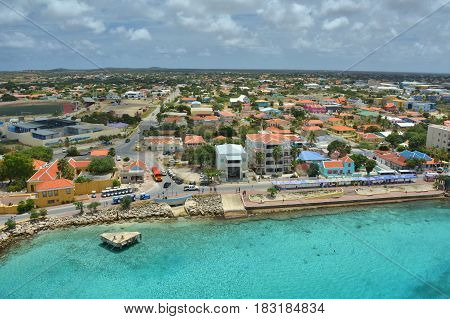 Cruise ship port in Kralendijk capital city of Bonaire island of the ABC Caribbean Netherlands
