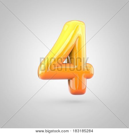 Glossy Orange And Yellow Gradient Paint Alphabet Number 4 Isolated On White Background