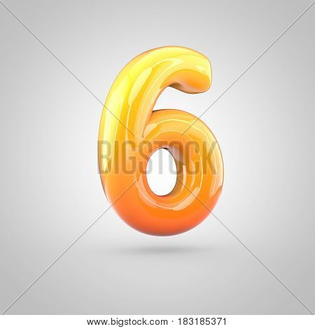 Glossy Orange And Yellow Gradient Paint Alphabet Number 6 Isolated On White Background