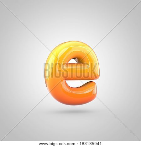 Glossy Orange And Yellow Gradient Paint Alphabet Letter E Lowercase Isolated On White Background