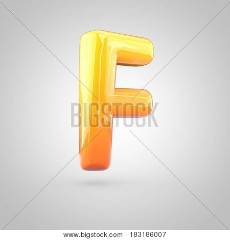 Glossy Orange And Yellow Gradient Paint Alphabet Letter F Uppercase Isolated On White Background