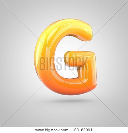 Glossy Orange And Yellow Gradient Paint Alphabet Letter G Uppercase Isolated On White Background
