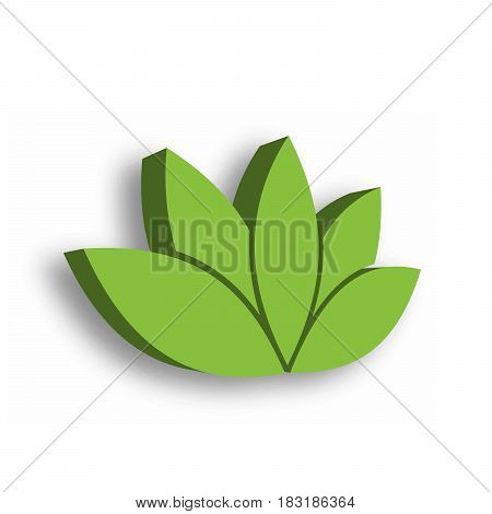 Green lotus flower 3d icon on white background. Wellness, spa, yoga, beauty and healthy lifestyle theme. Vector illustration.