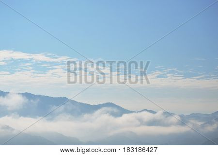 cloud and fog floating cover mountain in sunny day