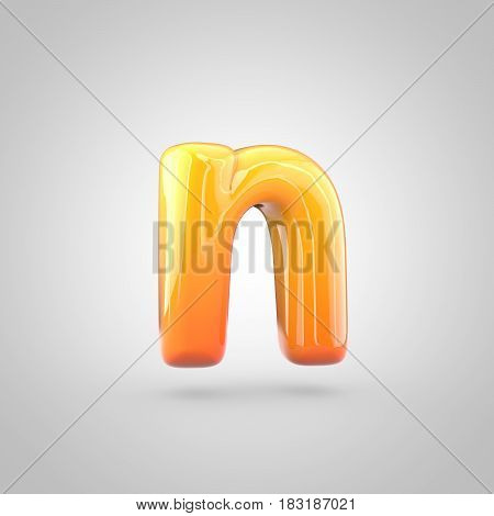 Glossy Orange And Yellow Gradient Paint Alphabet Letter N Lowercase Isolated On White Background