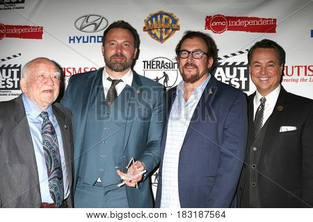 LOS ANGELES - APR 23:  Ed Asner, Ben Affleck, Matthew Asner, George Pennacchio at the 1st Annual AutFest International Film Festival at AMC Orange 30 on April 23, 2017 in Orange, CA
