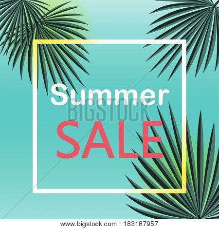 Summer sale Vector illustration The inscription Summer sale in white frame on blue background with palm leafs Vector background for banner, poster, flyer, card, postcard, cover, brochure