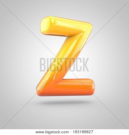 Glossy Orange And Yellow Gradient Paint Alphabet Letter Z Uppercase Isolated On White Background