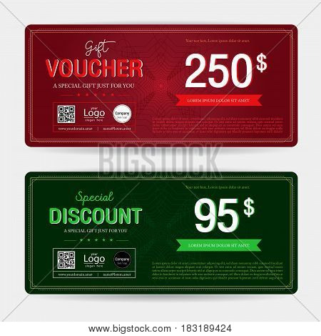 Gift voucher or gift coupon template for award redemption promo on swirl background