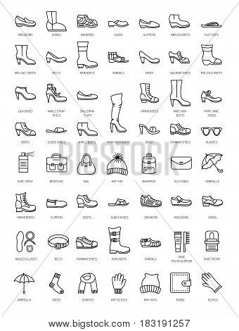 Men's and women's shoes & accessories. Vector line icon set. Various styles of footwear. Heels boots sneakes sandals flats. Bags gloves umbrellas hats scarves socks. Shoe care products: polish cream brush.