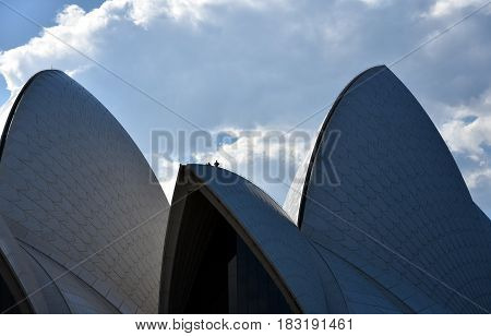 Sydney Australia - Apr 23 2017. Snipers on the top of Opera House invigilate the area because of arriving Mike Pence the vice president of the United States.