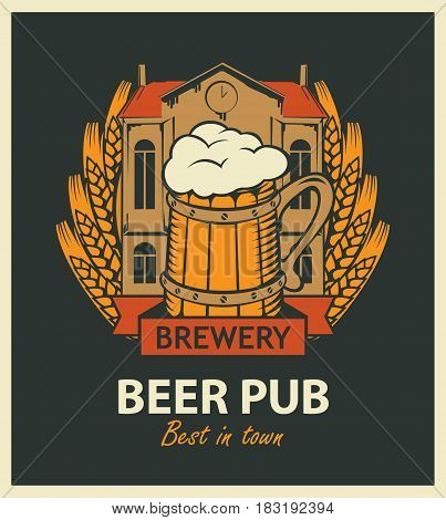 template vector beer pub label with brewery building a mug of beer and wheat wreath in retro style