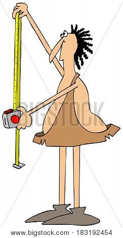 Illustration of a caveman trying to use a tape measure.
