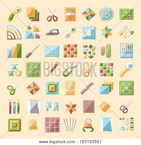 Patchwork line icons set. Quilting supplies and accessories. Quilt fabric kit patch needle thread scissors cloth sewing machine pin template ruler rotary cutter. Vector illustration.
