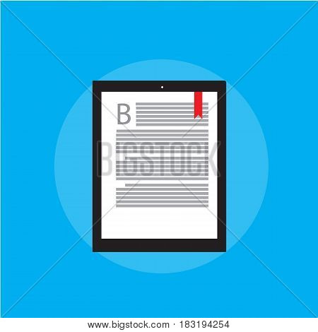 E-book reader on blue backgrond and modern education. In flat style