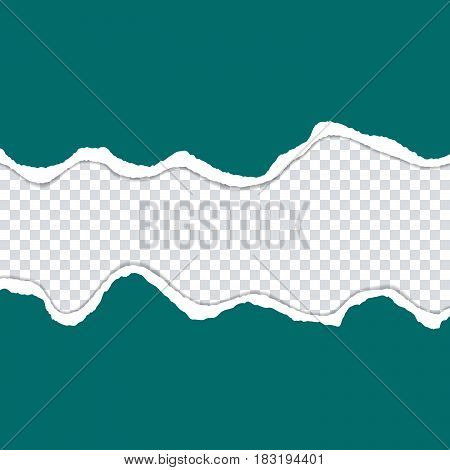 Vector ripped paper edge on a transparent backgrop. Isolated  card. Colored cracked sticker with 3d shadow. Space for text.