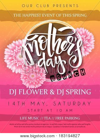 vector illustration of mothers day event poster with round frame, blooming chrysanthemum flowers hand lettering text - mothers day.
