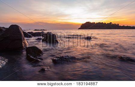 Tropical sea beach at Koh Chang island during sunsetThailand.