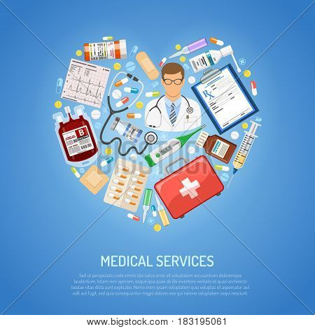 medicine and healthcare concept with flat icons in shape of heart like doctor, blood transfusion, cardiogram, prescription. vector illustration