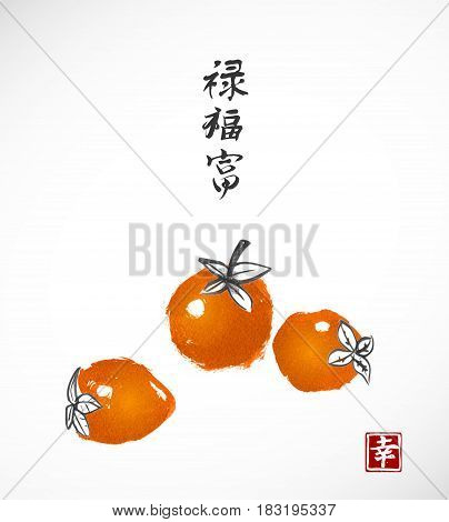 Three date-plum fruits on white background. Traditional oriental ink painting sumi-e, u-sin, go-hua. ontains hieroglyph - happiness, wealth, blessed, well-being.