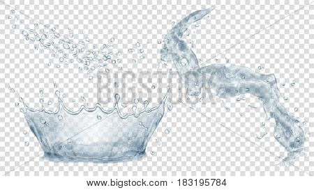 Transparent water crown splash of water and set of drops in gray colors isolated on transparent background. Transparency only in vector file