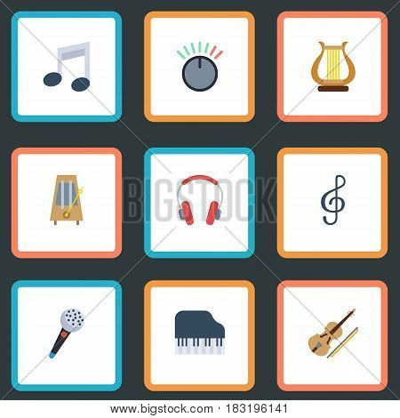 Flat Tone Symbol, Lyre, Quaver And Other Vector Elements. Set Of Music Flat Symbols Also Includes Quaver, Octave, Karaoke Objects.