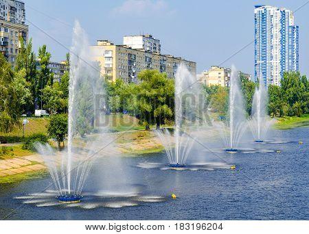 Fountains in Kiev District Rusanovka fountains panorama. Kiev Ukraine