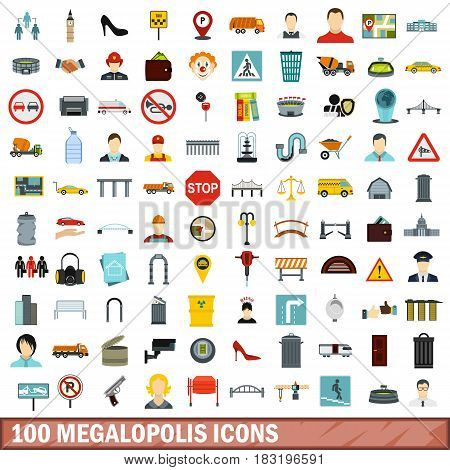 100 megalopolis icons set in flat style for any design vector illustration