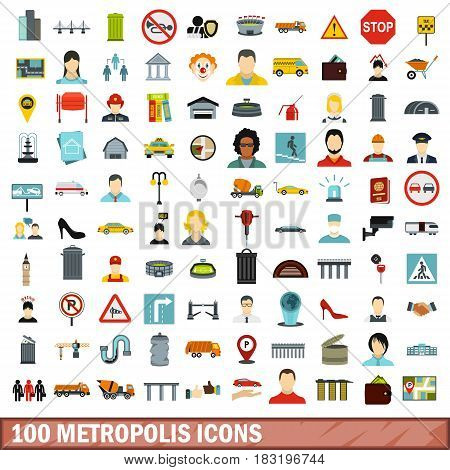 100 metropolis icons set in flat style for any design vector illustration