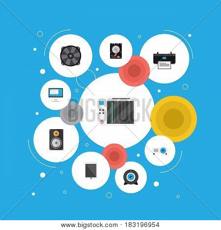 Flat Palmtop, Slot Machine, Amplifier And Other Vector Elements. Set Of Notebook Flat Symbols Also Includes Printer, Printing, Tablet Objects.