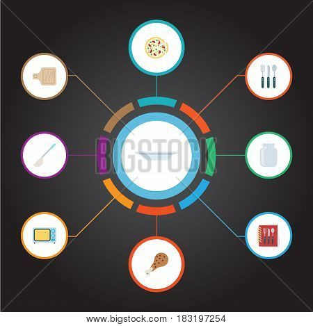 Flat Dish, Soup Spoon, Glass Container And Other Vector Elements. Set Of Gastronomy Flat Symbols Also Includes Breadboard, Kitchen, Microwave Objects.
