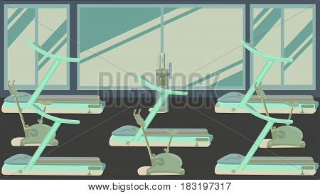 Gym with large panoramic window illustration vector